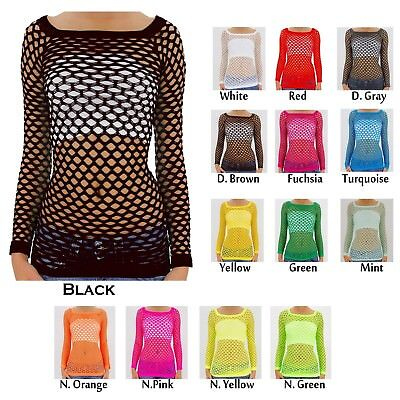 Women's Nylon Fishnet Long Sleeve Blouse Top Cover Up - U.S. Juniors