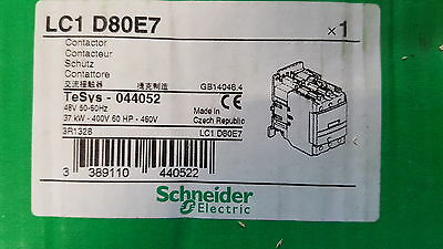 Schneider TeSys LC1 D80E7 3 Pole Contactor, 80 A, 37 kW, 48 V ac Coil