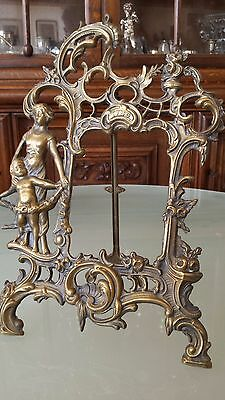 Antique French 1786 Bronze Large Family Photo Frame Table Mirror