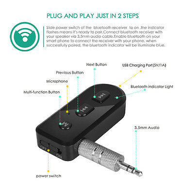 3.5mm Audio Music Adapter Dongle Mini Bluetooth 4.1 EDR Receiver USB Charger AUX