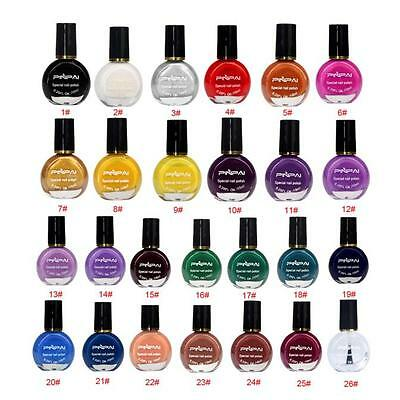 26 Colors DIY Stamp Template Stamping Nail Polish Art Manicure Varnish Brush New