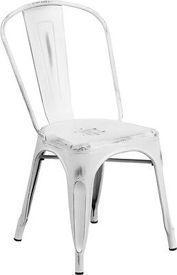 Flash Furniture Distressed White Metal Indoor Stackable Chair