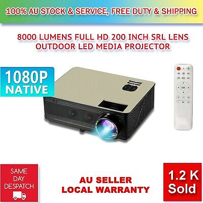 8000Lumens HD SLR Len LED Projector Media Home Outdoor Cinema HDMI USB 1080P VGA