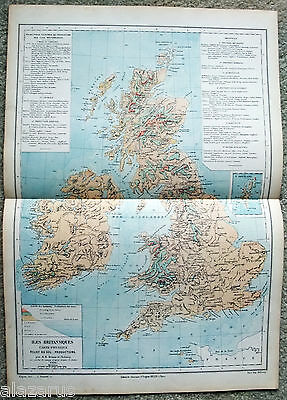 Original Physical & Economic Map of The British Isles by Drioux & Leroy Paris