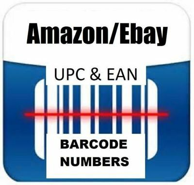 1000pcs UPC EAN 13 Numbers Barcodes Bar Codes for Amazon Ebay Email Delivery