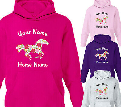 Personalised Horse Riding Childrfens Hoodie Girls Floral Hoody Equestrian Gift