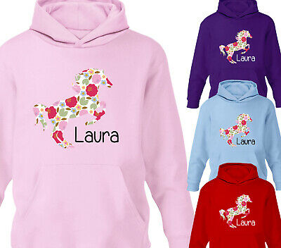 Girls Personalised Horse Riding Hoodie Floral Print Childrens Kids Pony Hoody