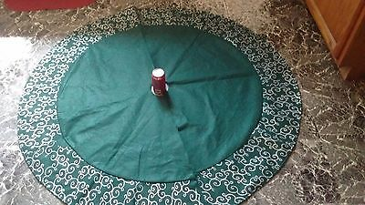 """56"""" Green and Silver Felt Christmas Tree Skirt & 8 Plastic Matching Placemats"""