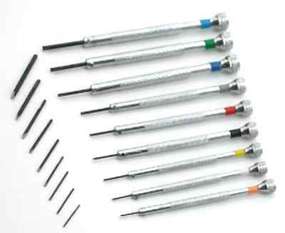 Screwdriver Set Of 9Pcs.with Spare Blades For Watch Makers Tools