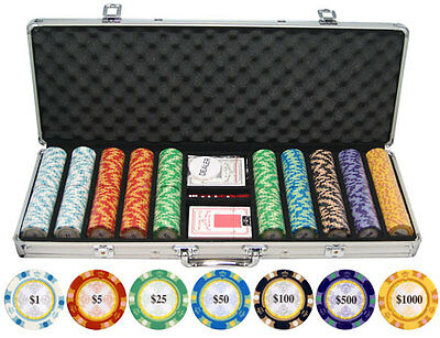Monte Carlo Texas Hold 'Em 13.5g 500 pc Clay Poker Chips w/ Case Cards Dice
