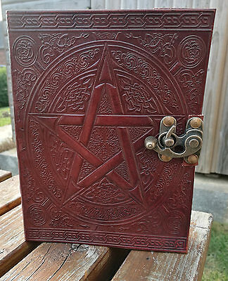 """Pentagram and Celtic design leather journal , book of shadows, Wicca Pagan 8""""x6"""""""