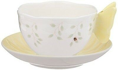 Lenox Butterfly Meadow Figural Cup and Saucer Set, Yellow