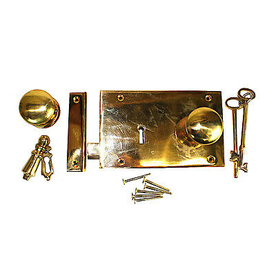 Solid Brass Colonial Rim Box Lock Surface Mounted Antique Sty LEFT Hand