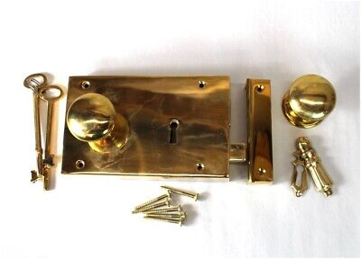 Solid Brass Colonial Rim Lock Box Lock Surface Mount Antique Sty RIGHT Hand