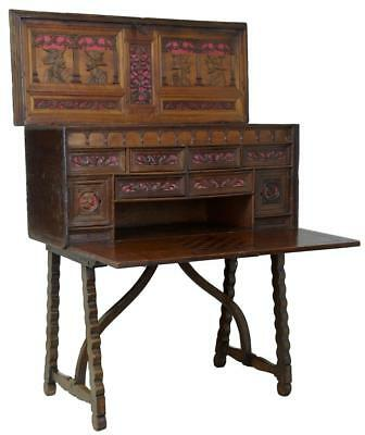 17Th Century Spanish Carved Walnut Vaqueno On Stand Writing Desk