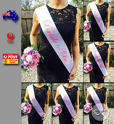 White Sashes Pink Text Hens Night Party Bride To Be Bridesmaid Maid of Honour