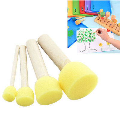 4 Pcs/set Kids Wooden Handle Painting Education DIY Doodle New Hot Sponge Brush