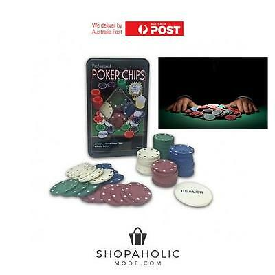 100 Piece Professional Poker Chip Set in Tin Box