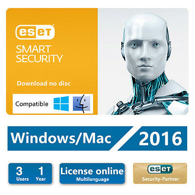 ESET Smart Security 9.0 / 2016 /  3 Users 1Year Download Edition for Win & Mac
