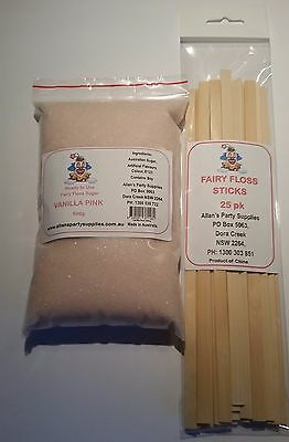 Fairy Floss Sugar & Sticks 25 Serve Kit, Vanilla Pink, Fairy Floss Machine,