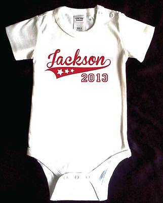 ALLSTARS Baby personalised romper. White cotton. Custom print. Baby shower.