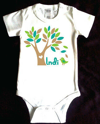 Tree with bird. Personalised Baby Romper. Custom printed with Baby's name.Cotton