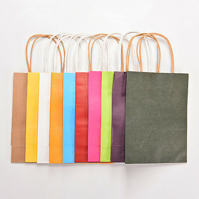 5pcs kraft paper bag with handle Party Gift Paper Bags 21*15*8cm FT
