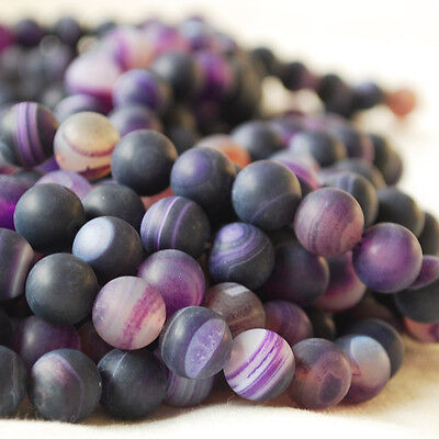 """16"""" Semi Precious Gemstone Frosted Matte Purple Banded Agate Round Bead 4 - 10mm"""