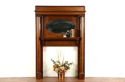 Fireplace Oak 1900 Antique Mantel, Mirror & Surround Architectural Salvage