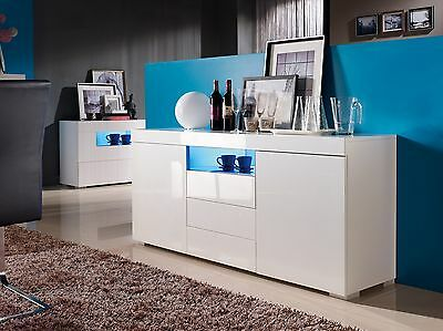 sideboard kommode wei led wohnzimmer schlafzimmer hochglanz modern elegant eur 239 90. Black Bedroom Furniture Sets. Home Design Ideas