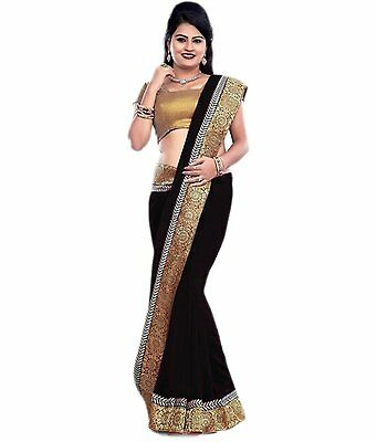 Black Bollywood Indian Ethnic Party Wear Wedding Designer Saree Sari With Blouse