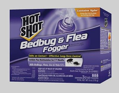 3 - 2oz Cans Hot Shot FOGGER Insect Killer INDOOR Bed Bugs Fleas Ticks Lice Bugs