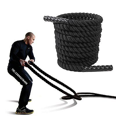 CORDA Power FUNE Per Allenamento CrossFit Rope Fitness 15 metri x 38 mm Nero