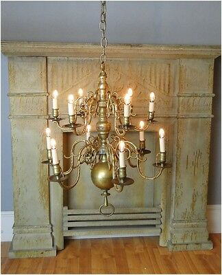 Colonial Brass BIG Chandelier Light Fixture 12 arms antique aged old solid