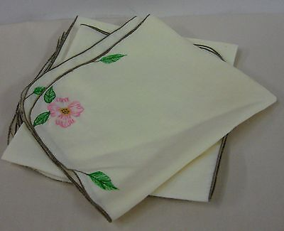 """Franciscan  DESERT ROSE 16"""" Embroidered Cloth Napkin MORE AVAILABLE"""