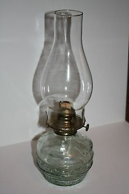 Green Glass Vintage Oil Hurricane Table Desk Lamp