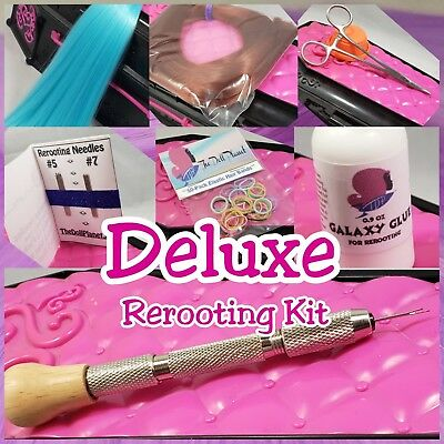 Deluxe 7 piece Doll Rerooting Kit, Rerooting Tool, Nylon Doll Pony Hair, Glue