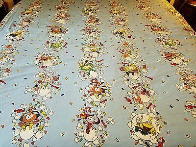 Vintage 1984 Snorks Cartoon Characters Full Size Flat Bed Sheet HTF