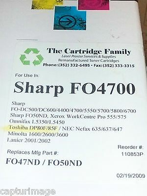 Sharp Fax Toner FO4700 Black Reman. by Cartridge Family New in Box