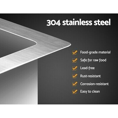 NEW Stainless Steel Sink Kitchen Laundry Basin Bowl Strainer Square 440 x 440mm