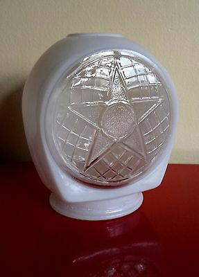 Great Vintage Industrial Sconce Lamp Shade Mid-Century 5 Point Star Clear White