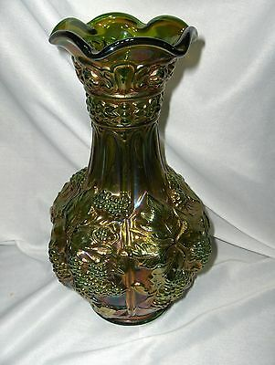 Vintage Crown Imperial Green & Gold Carnival Glass  Vase Loganberry Signed  NICE