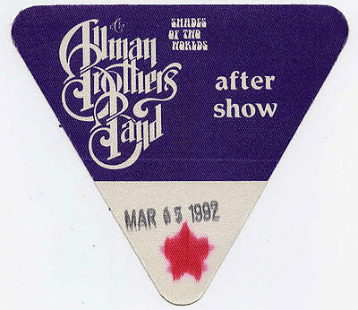 Allman Brothers Band * *RARE* * 3/15/1992 Beacon Theatre Backstage Pass vtg tour