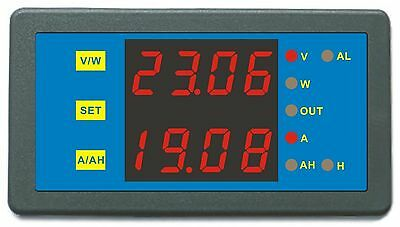 Blue Programmable 0-90V 0-500A Voltage AMP Ah Power Combo Meter Battery Monitor