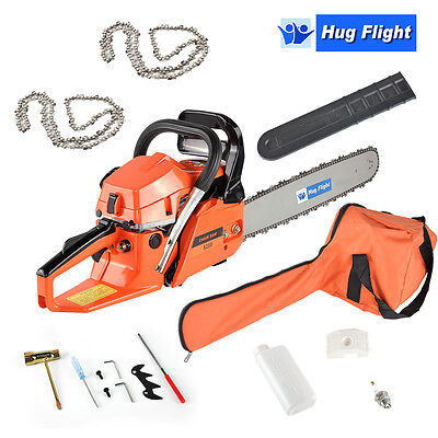 """Hug Flight 62cc 20"""" Top Handle Petrol Chainsaw Topping Chain Saw with 2 Chains"""
