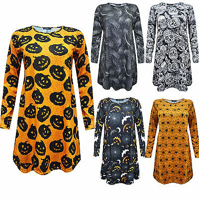 Womens Ladies Halloween Spider Pumpkin Bat Skull Printed Long Sleeve Swing Dress