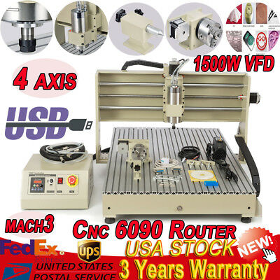 USB 4 axis 6040 1500W CNC Router Engraving Milling Machine 3D Engraver Mach3