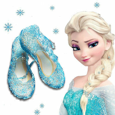 Frozen Blue Elsa Princess Cosplay Dress Up Party Shoes Girls Kids Jelly Shoes