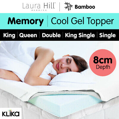 Cool GEL Memory Foam Mattress Topper BAMBOO Fabric Cover Ecologic Queen King 8CM