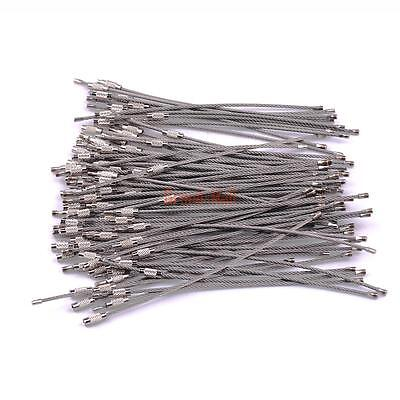 "100PCS 6"" Stainless Steel Wire Cable Keychain Key Chains Rings Bulk"